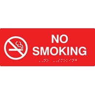 ADA Compliant No Smoking Signs with Tactile Text and Grade 2 Braille - 10x4
