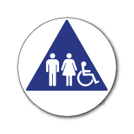 ADA Unisex Restroom Door Sign with ISA and Pictograms on Blue Triangle - 12x12