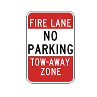 No Parking Fire Lane Tow Away Signs - 12x18