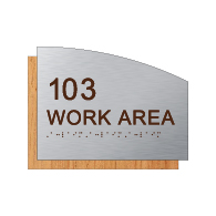 Custom Room Number & Name Sign - 8.5x8.5 - Brushed Aluminum & Wood Laminates