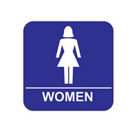ADA Economy Womens Restroom Wall Signs with Tactile Text Braille - 8x8