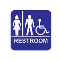 ADA Economy Unisex Restroom Wall Signs with Tactile Text Braille - 8x8