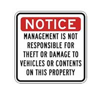 Management Not Responsible For Theft Or Damage Signs - 18x18
