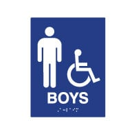 ADA Compliant Boys Restroom Wall Signs for Schools with Tactile Text and Symbols, and Grade 2 Braille - 6x8