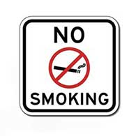 No Smoking Text and Symbol Sign - 18x18 - Reflective Indoor-Outdoor rust-free aluminum No Smoking signs