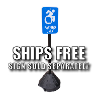 "58-INCH Tall Portable Sign Post which includes 18"" Diameter Black Base and Hardware available at STOPSignsAndMore.com"