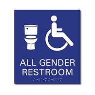 ADA Compliant All Gender Neutral Symbols Bathroom Wall Sign with Tactile Text and Grade 2 Braille - 8x9
