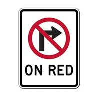 R13-A No Right Turn On Red Sign -18x24 - Official MUTCD Reflective Rust-Free Heavy Gauge Aluminum Road Signs