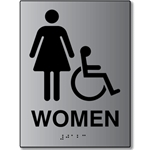 ADA Womens Restroom Wall Sign with Female and Wheelchair Symbols, Tactile Text, and Grade 2 Braille- 6x8 - Brushed aluminum is an attractive alternative to plastic ADA signs