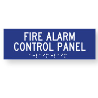 ADA Compliant Fire Alarm Control Panel Signs with Tactile Text and Grade 2 Braille - 12x4