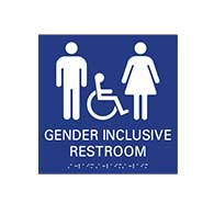 ADA Compliant Wheelchair Accessible All Gender Restroom Wall Signs with Tactile Text and Grade 2 Braille - 9x9
