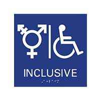 ADA compliant Gender Inclusive Symbol Restroom Wall Sign with Pictogram and Grade 2 Braille