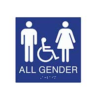 ADA compliant All Gender Symbol Restroom Wall Sign with Pictograms/ Wheelchair and Grade 2 Braille
