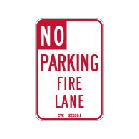 R26F-Mod-Code California No Parking Fire Lane Sign - 12x18