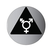 ADA Brushed Aluminum Door Sign Restroom - Black Triange/ Gender Neutral Symbol - 12x12