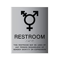 ADA Gender Neutral Symbol Restroom Wall Sign Brushed Aluminum - from StopSignsandMore. Our ADA signs meet sign regulations and will pass compliance inspections.