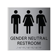 ADA Compliant Wheelchair Accessible All Gender Restroom Wall Signs with Tactile Text and Grade 2 Braille - 8x9