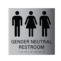 ADA Compliant Gender Neutral Restroom Wall Sign with Tactile Text and Grade 2 Braille - 8x9 - Brushed Aluminum