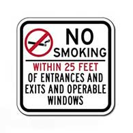 No Smoking Within 25 Feet Of Entrances And Exits And Operable Windows Sign Non-reflective