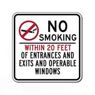 No Smoking Sign (20 Feet Of Entrances/Exits/Operable Windows) 24X24- Non-reflective