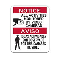 Bilingual Activities Monitored By Video Cameras Signs - 18x24