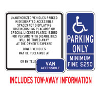 California Disabled Parking Sign kit , Towaway Information