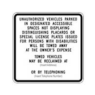 Buy the Official New R100B California Disabled Parking Tow-Away Signs - 24x24  - Reflective Rust-Free Heavy Gauge Aluminum Parking Signs