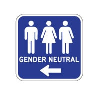 Outdoor Rated Aluminum Accessible Gender Neutral Restrooms Sign - Left Arrow - 12x12 - Reflective Rust-Free Heavy Gauge (.063) Aluminum Restroom Signs