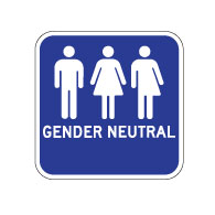 Outdoor Rated Aluminum Gender Neutral Restrooms Sign - No Arrow - 12x12 - Reflective Rust-Free Heavy Gauge (.063) Aluminum Restroom Signs