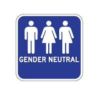 Outdoor Rated Aluminum Accessible Gender Neutral Restrooms Sign - Ahead Arrow - 12x12 - Reflective Rust-Free Heavy Gauge (.063) Aluminum Restroom Signs