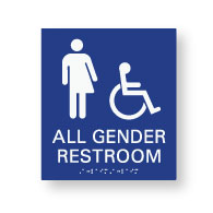 American Made High Quality ADA All Gender Restroom Wall Signs with ISA Symbol Tactile Text and Grade 2 Braille - 8x9 size.