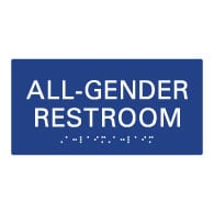 ADA Compliant Wheelchair Accessible All Gender Restroom Wall Signs with Tactile Text and Grade 2 Braille - 8x4
