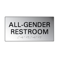 Brushed Aluminum All Gender Restroom Wall Signs with Tactile Text and Grade 2 Braille - 8x4