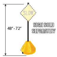 (Yellow) Portable Sign Post, Base, and Hardware Product Page