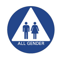 All Gender Restroom Door Sign no ISA & Male + Female pictograms