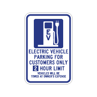 2 hour Limit 12x18 Electric Vehicle Parking Only Sign -  12x18