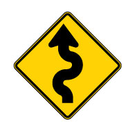 W1-5 WINDING ROAD Warning Signs - 24x24 -Rust-Free Heavy Gauge Aluminum Road Sign