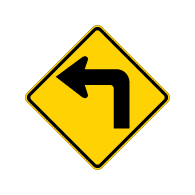 W1-1 Road Turn Warning Signs - 24x24 -Rust-Free Heavy Gauge Aluminum Road Sign