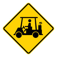 Buy our Golf Cart on Road Warning Signs - 24x24 - Official W11-11 MUTCD Reflective Heavy Gauge Rust-Free Aluminum Golf Cart On Road Signs