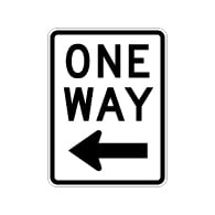 R6-2L One Way Signs With Left Arrow - 18X24 - Official MUTCD Reflective Rust-Free Heavy Gauge Aluminum Road Signs