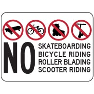 No Skateboarding Bicycle Riding Roller Blading Roller Skating Scooter Riding Sign - 18x12 - Reflective heavy-gauge rust-free No Skateboarding Signs