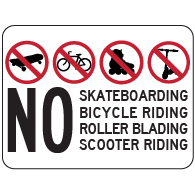 No Skateboarding Bicycling Rollerblading Symbol and Text - 18x12 - Made with Reflective Rust-Free Heavy Gauge Durable Aluminum available at STOPSignsAndMore.com