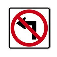 R3-2 No Left Turn Symbol Signs - 24x24 - Official MUTCD Reflective Rust-Free Heavy Gauge Aluminum Road Signs