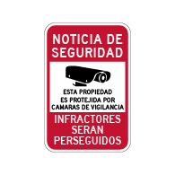 Spanish Property Protected By Video Surveillance Sign - 12x18