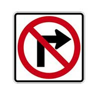 R3-1 No Right Turn Symbol Signs - 24x24 - Official MUTCD Reflective Rust-Free Heavy Gauge Aluminum Road Signs
