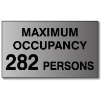 ADA Maximum Occupancy Room Signs with Tactile Text - 12x7 - Brushed Aluminum - Available at STOPSignsAndMore.com