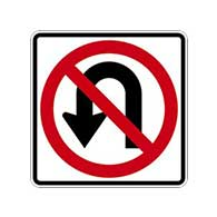 R3-4 No U-Turn Symbol Signs - 24x24 - Official MUTCD Reflective Rust-Free Heavy Gauge Aluminum Road Signs
