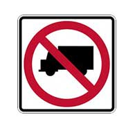 R5-2 No Trucks Allowed Symbol Signs - 24x24 - Official MUTCD Reflective Rust-Free Heavy Gauge Aluminum Road Signs.