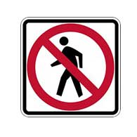 R9-3A - No Pedestrians Allowed Symbol Signs - 24x24 - Official MUTCD Reflective Rust-Free Heavy Gauge Aluminum Road Signs