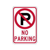 No Parking Sign with Symbol and Text - 12x18  - Reflective Rust-Free Heavy Gauge Aluminum No Parking Signs
